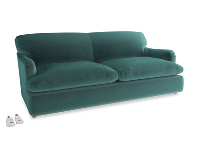 Large Pudding Sofa Bed in Real Teal clever velvet