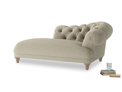 Right Hand Fats Chaise Longue in Jute vintage linen
