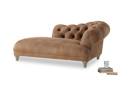 Right Hand Fats Chaise Longue in Walnut beaten leather
