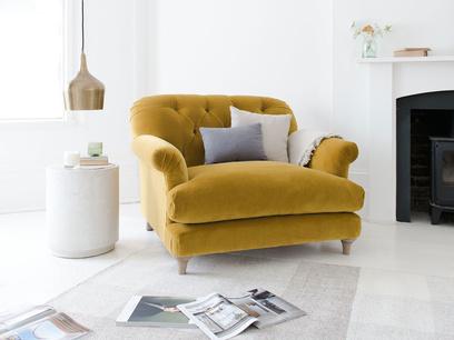 Truffle deep seated button armchair