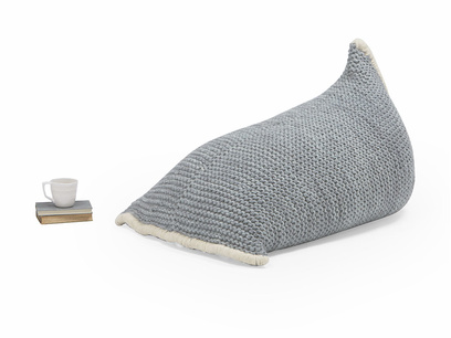 Chocs wool knitted bean bag in Light Grey