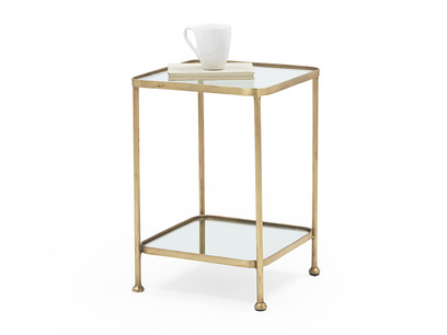 Wonder-Brass glass, brass and mirror side table
