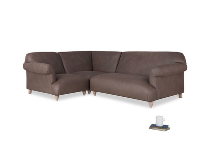 Large Left Hand Soufflé Modular Corner Sofa in Dark Chocolate Beaten Leather with arms