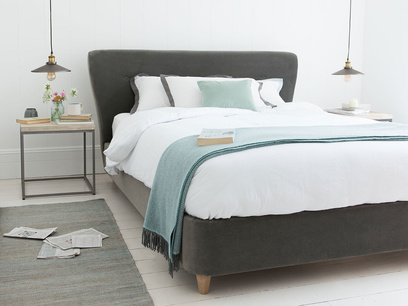 Smoke modern upholstered bed