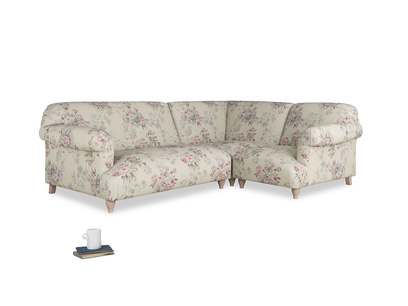 Large right hand Corner Soufflé Modular Corner Sofa in Pink vintage rose and both Arms