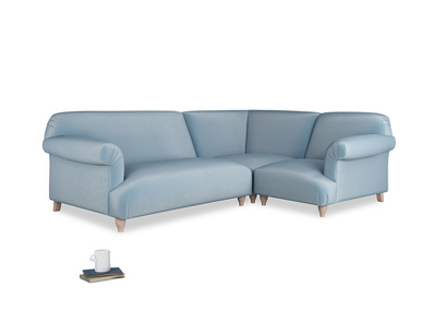 Large right hand Corner Soufflé Modular Corner Sofa in Chalky blue vintage velvet and both Arms