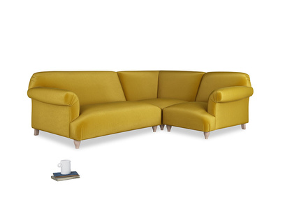 Large right hand Corner Soufflé Modular Corner Sofa in Burnt yellow vintage velvet and both Arms