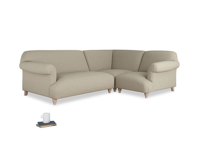 Large Right Hand Soufflé Modular Corner Sofa in Jute Vintage Linen with arms