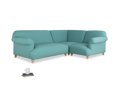 Large right hand Corner Soufflé Modular Corner Sofa in Peacock brushed cotton and both Arms