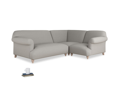 Large Right Hand Soufflé Modular Corner Sofa in Wolf Brushed Cotton with arms