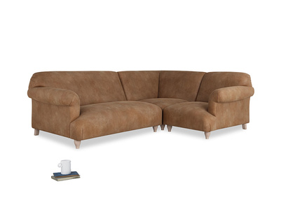 Large right hand Corner Soufflé Modular Corner Sofa in Walnut beaten leather and both Arms