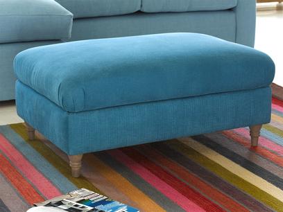 Upholstered gorgeous handmade fabric Flatster footstool