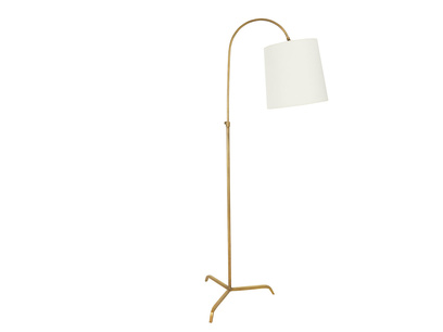Slam Dunk Floor Lamp In Brass with a Natural Hessian shade