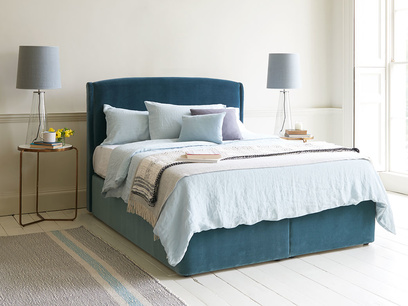 Contemporary divian upholstered Store storage bed