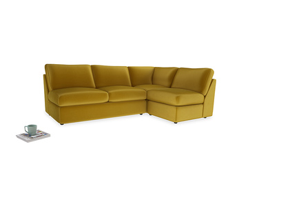 Large right hand Chatnap modular corner sofa bed in Burnt yellow vintage velvet