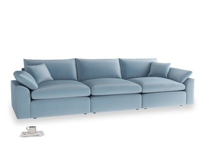 Large Cuddlemuffin Modular sofa in Chalky blue vintage velvet