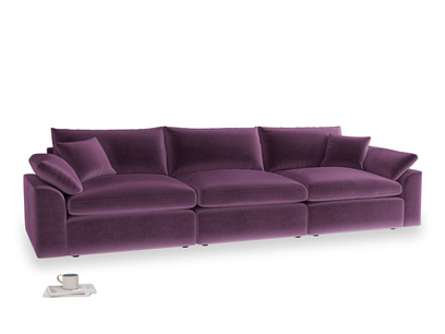 Large Cuddlemuffin Modular sofa in Grape clever velvet