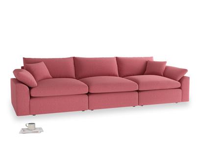 Large Cuddlemuffin Modular sofa in Raspberry brushed cotton