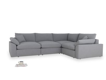 Large right hand Corner Cuddlemuffin Modular Corner Sofa in Dove grey wool