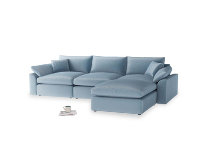 Large right hand Chaise Cuddlemuffin Modular Chaise Sofa in Chalky blue vintage velvet