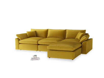 Large right hand Chaise Cuddlemuffin Modular Chaise Sofa in Burnt yellow vintage velvet