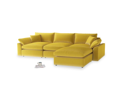 Large right hand Chaise Cuddlemuffin Modular Chaise Sofa in Bumblebee clever velvet