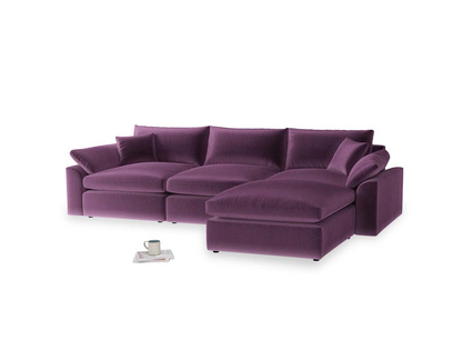 Large right hand Chaise Cuddlemuffin Modular Chaise Sofa in Grape clever velvet