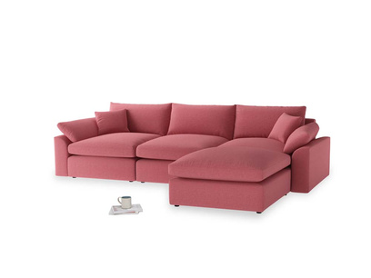 Large right hand Chaise Cuddlemuffin Modular Chaise Sofa in Raspberry brushed cotton