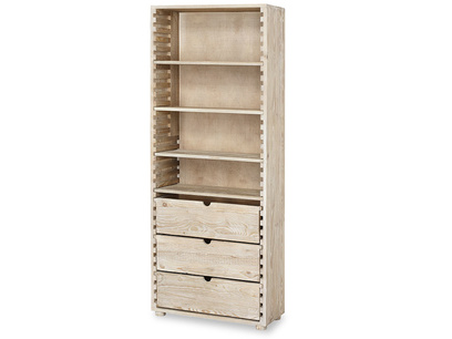 Tall Chockablock wooden shelves