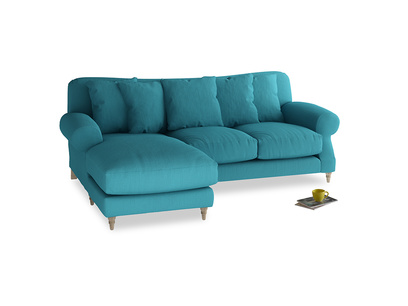 Large left hand Crumpet Chaise Sofa in Dragonfly Clever Linen