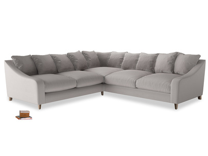 Even Sided Oscar Corner Sofa  in Mouse grey Clever Deep Velvet