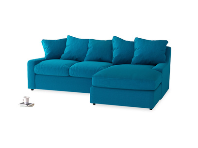 Large right hand Cloud Chaise Sofa in Bermuda Brushed Cotton