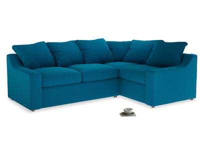 Large right hand Cloud Corner Sofa Bed in Bermuda Brushed Cotton