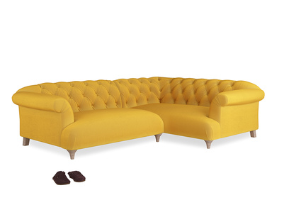 Large Right Hand Dixie Corner Sofa in Pollen Clever Deep Velvet