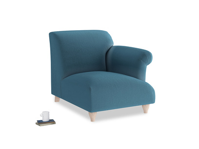 Soufflé Single Seat in Old blue Clever Deep Velvet with a right arm
