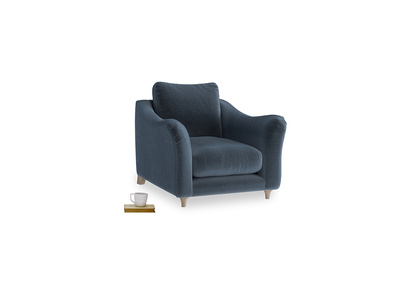 Bumpster Armchair in Liquorice Blue clever velvet