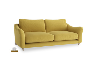 Large Bumpster Sofa in Maize yellow Brushed Cotton