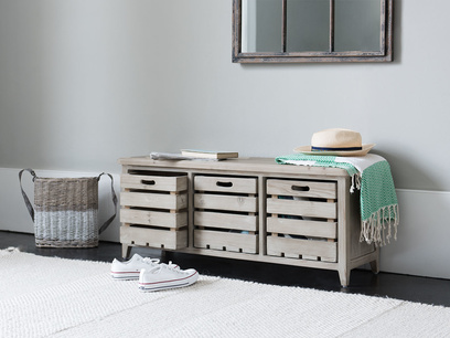 Welly wooden hallway storage bench