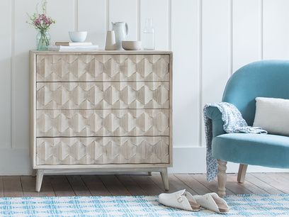 Orinoco hexagonal patterned wood chest of drawers