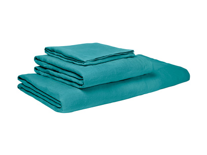 Superking Lazy Linen fitted sheets in Kingfisher Teal