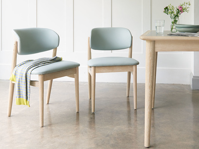 Popcorn retro leather dining chair in Duck Egg