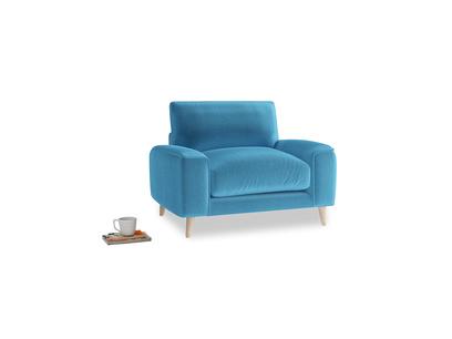 Strudel Armchair in Teal Blue plush velvet
