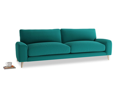 Large Strudel Sofa in Indian green Brushed Cotton