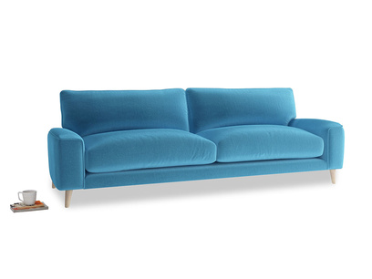 Large Strudel Sofa in Teal Blue plush velvet