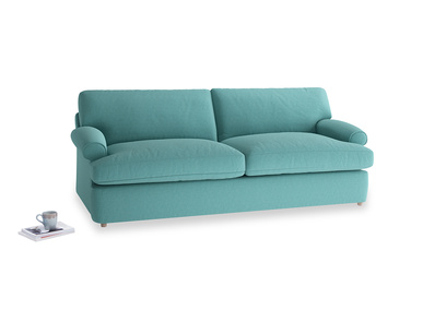 Large Slowcoach Sofa Bed in Peacock brushed cotton