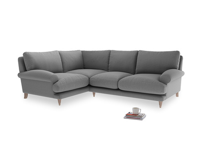 Large Left Hand Slowcoach Corner Sofa in Gun Metal Brushed Cotton