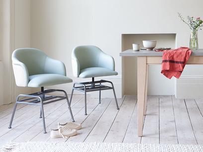 Milkshake leather kitchen retro dining chair in grey