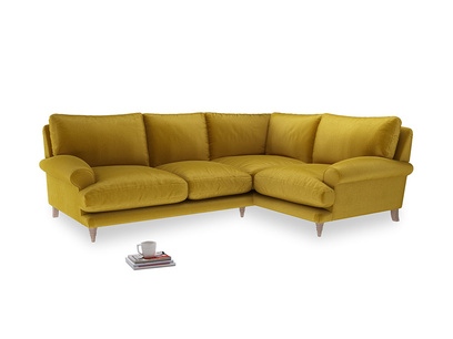 Large Right Hand Slowcoach Corner Sofa in Burnt yellow vintage velvet