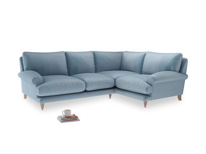 Large right hand Corner Slowcoach Corner Sofa in Chalky blue vintage velvet