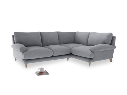 Large Right Hand Slowcoach Corner Sofa in Dove Grey Wool